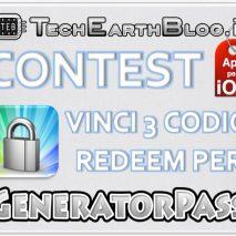 """Oggi apriamo un nuovo Contest che si chiuderà Martedì 11 Settembre 2012. Questo Contest mette in palio 3 codici redeem per l'applicazione """"GeneratorPass"""" per iOS (iPhone, iPad, iPod touch) disponibile su App Store al prezzo di 0,79 €. I vincitori […]"""